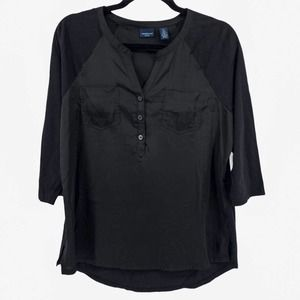 Westbound Black Henley Blouse Petite Large